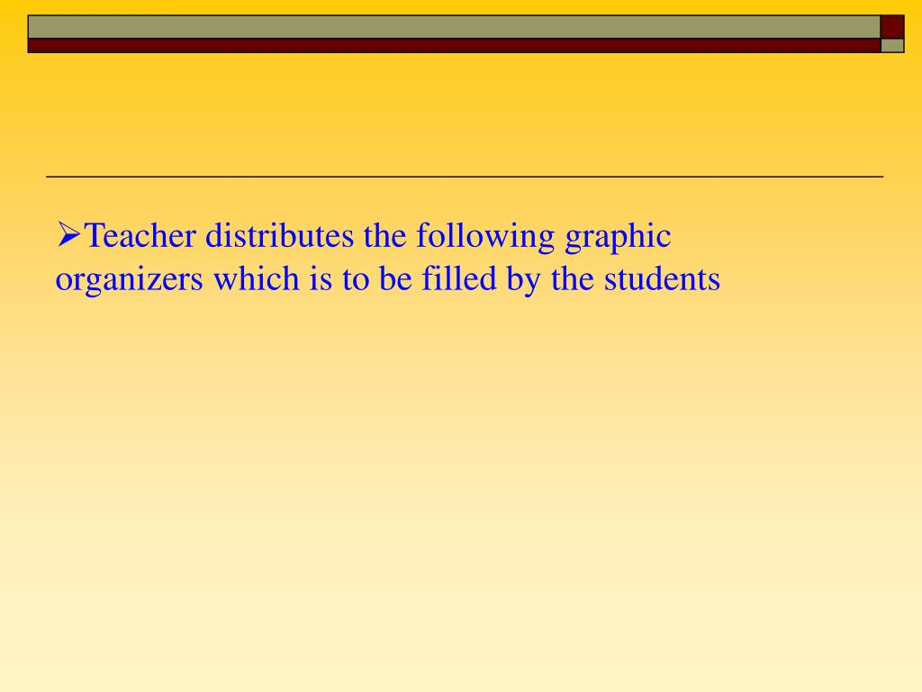 Teacher distributes the following graphic organizers which is to be filled by the students