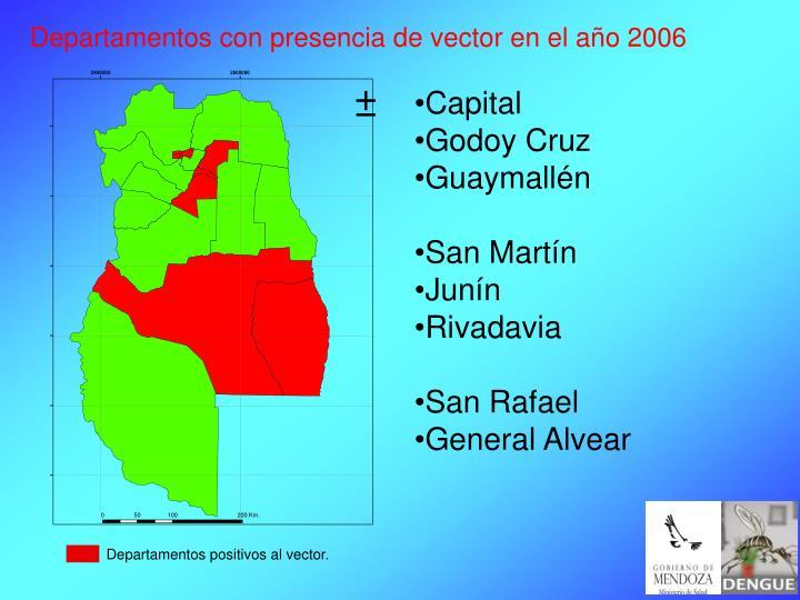 Departamentos con presencia de vector en el año 2006