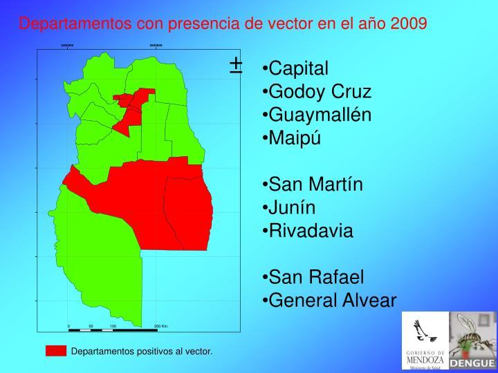 Departamentos con presencia de vector en el año 2009