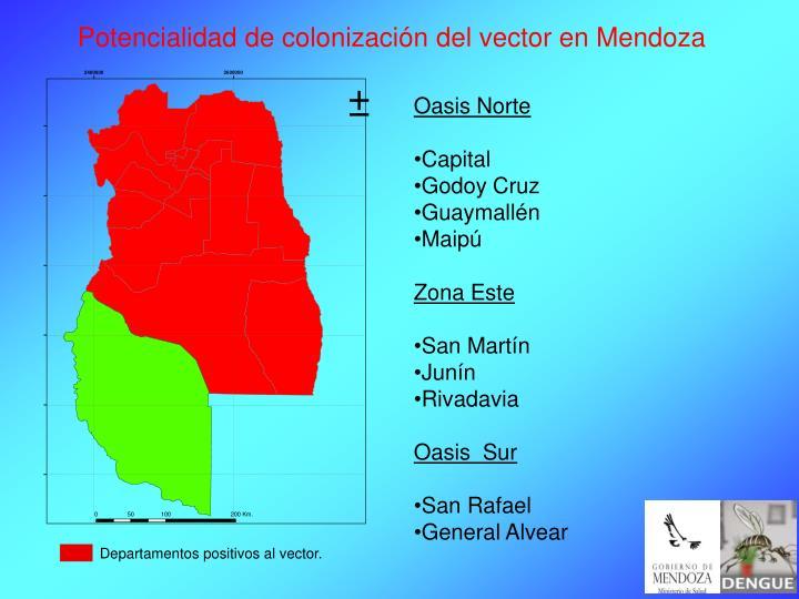 Potencialidad de colonización del vector en Mendoza