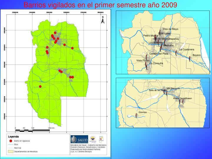 Barrios vigilados en el primer semestre año 2009