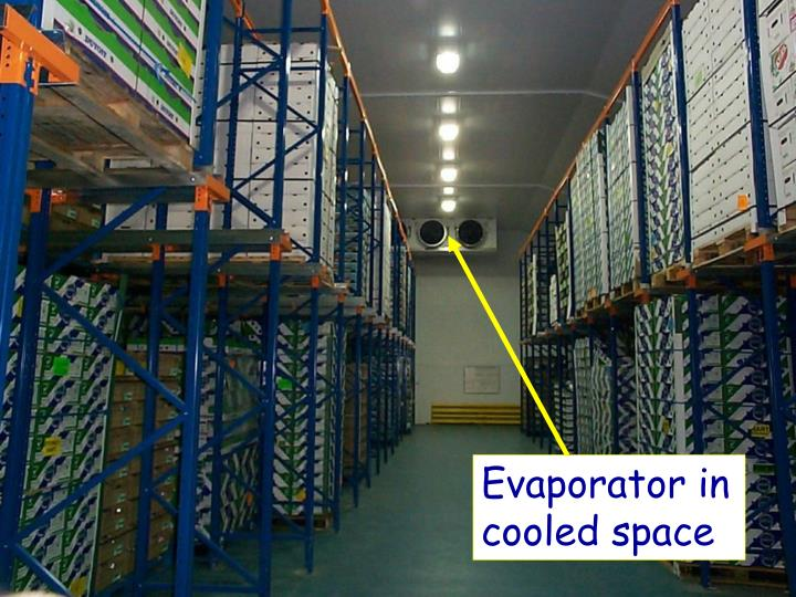 Evaporator in cooled space