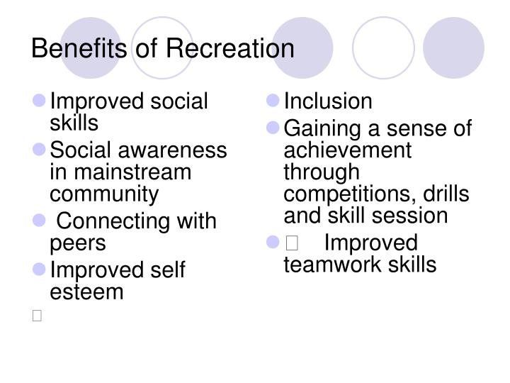 Benefits of recreation