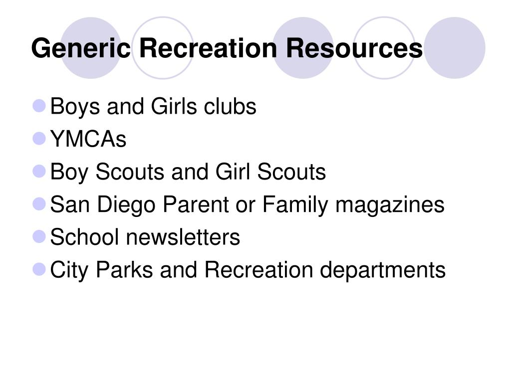 Generic Recreation Resources