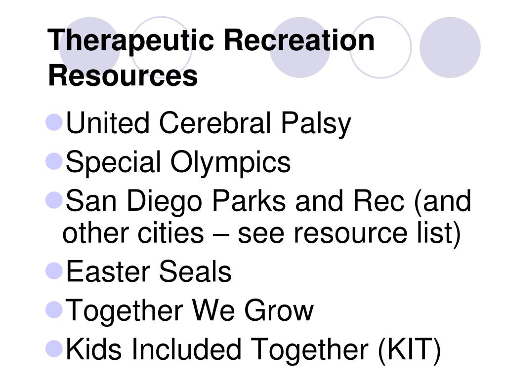 Therapeutic Recreation Resources