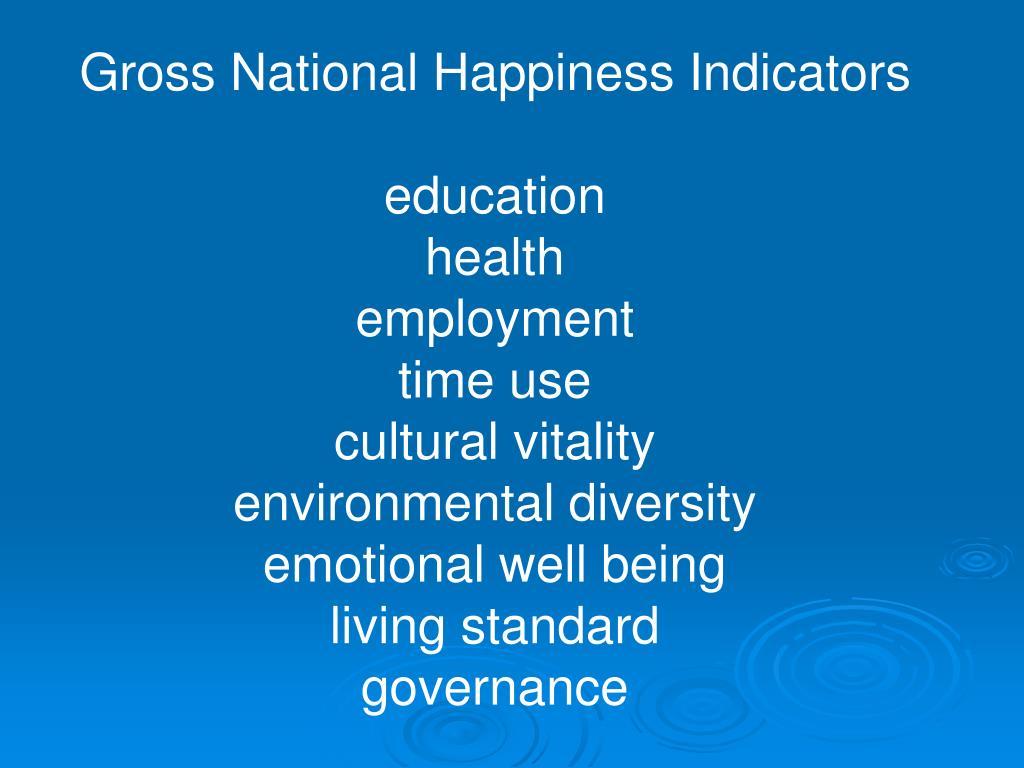 Gross National Happiness Indicators