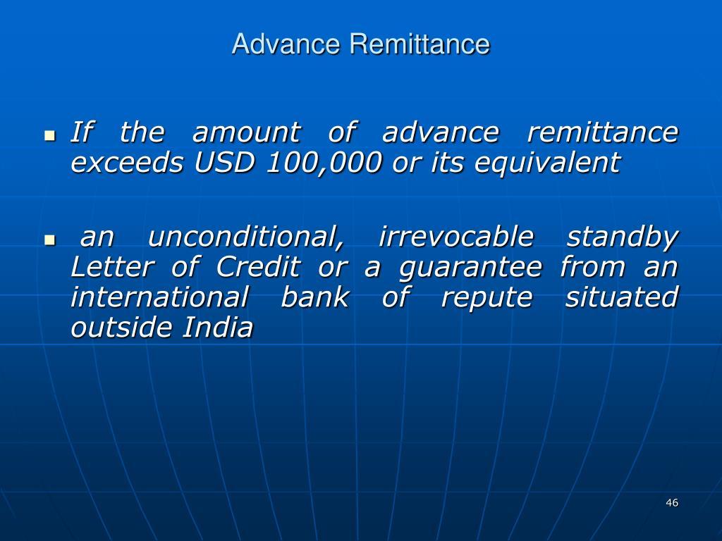 Advance Remittance