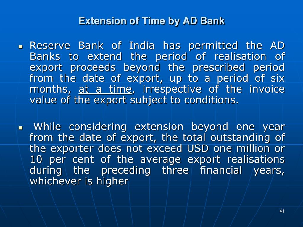 Extension of Time by AD Bank