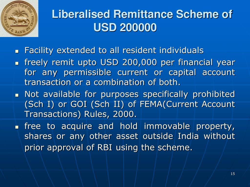 Liberalised Remittance Scheme of USD 200000