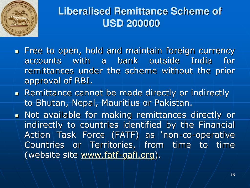 Liberalised Remittance Scheme of