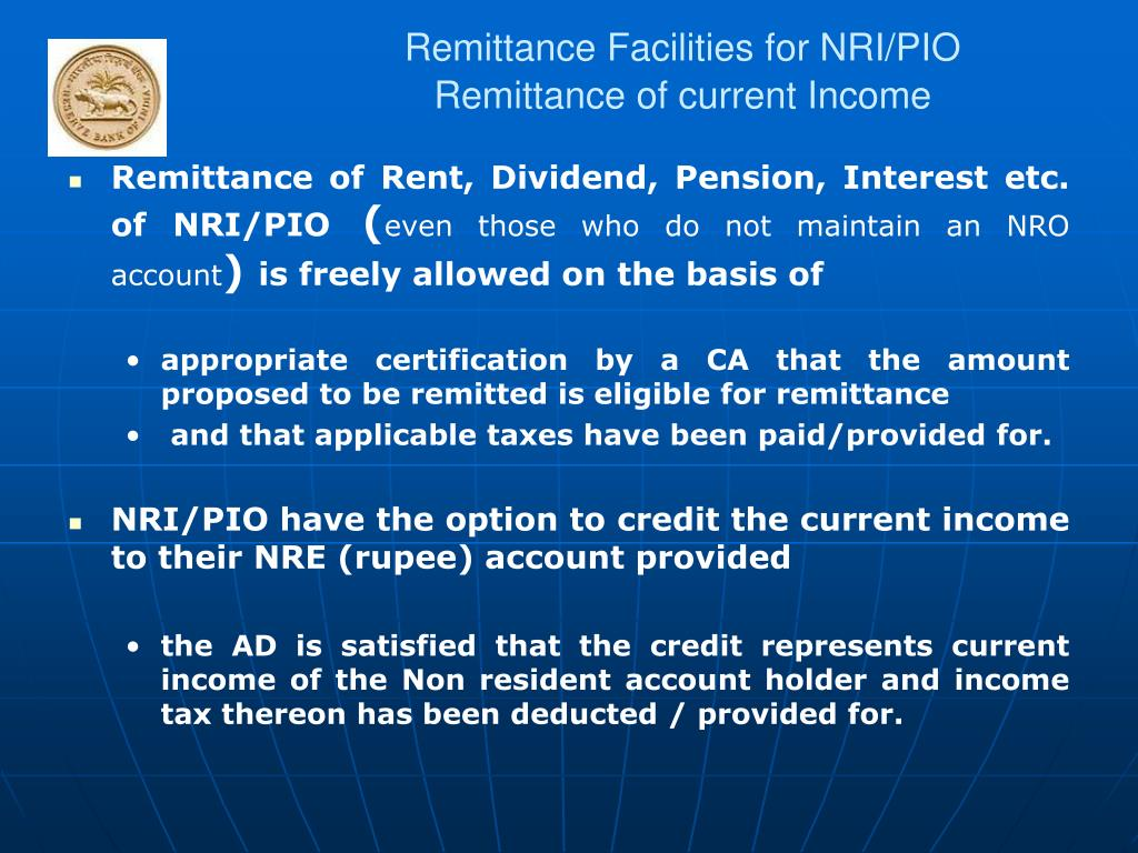 Remittance Facilities for NRI/PIO
