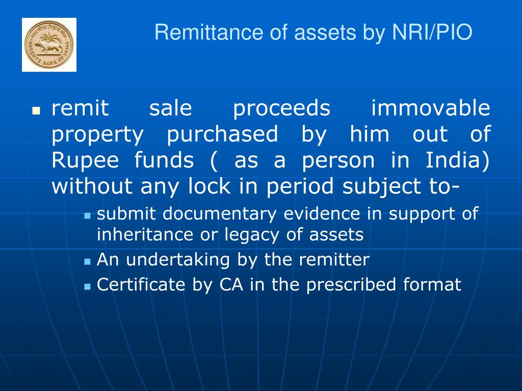 Remittance of assets by NRI/PIO