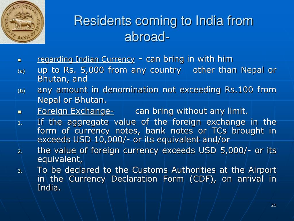 Residents coming to India from abroad-