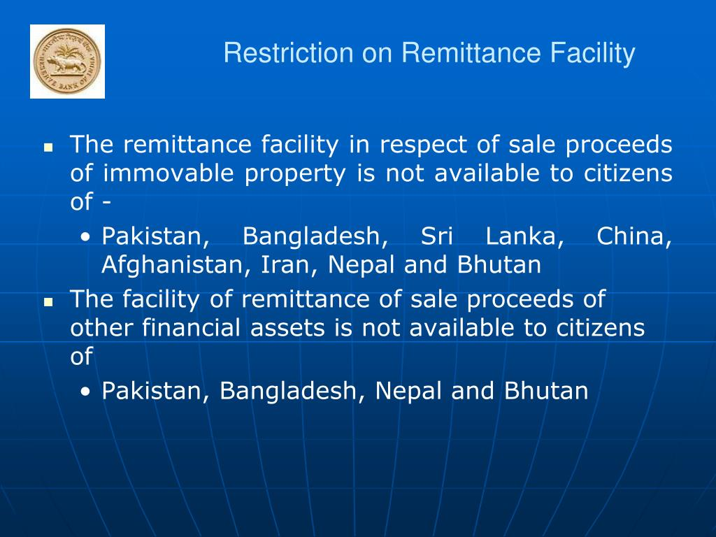 Restriction on Remittance Facility