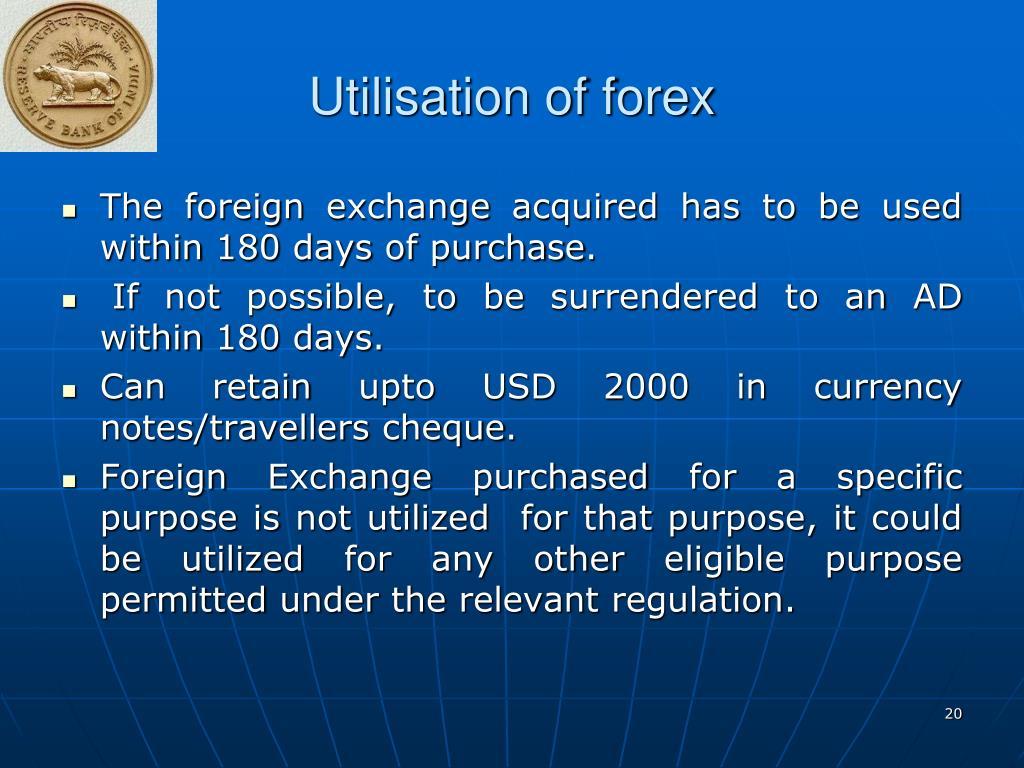 Utilisation of forex