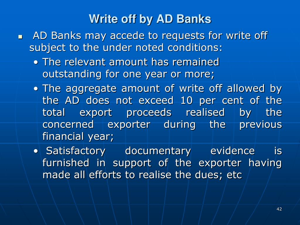 Write off by AD Banks
