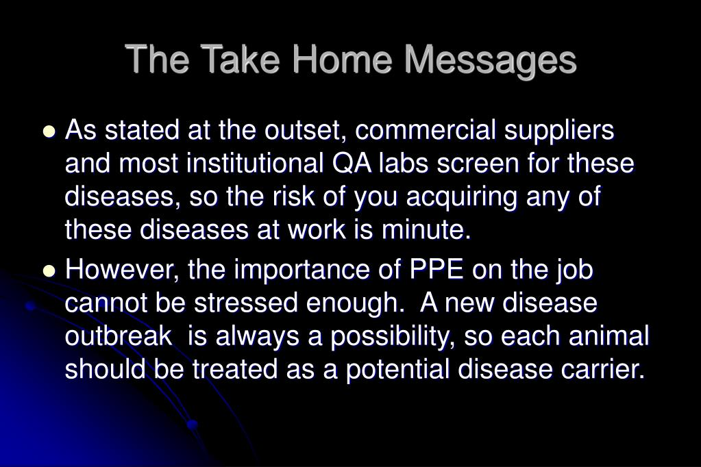 The Take Home Messages
