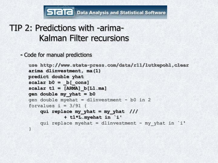 TIP 2: Predictions with -arima-