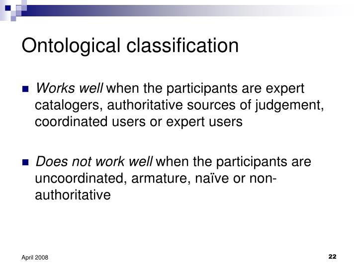 Ontological classification