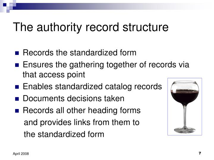 The authority record structure