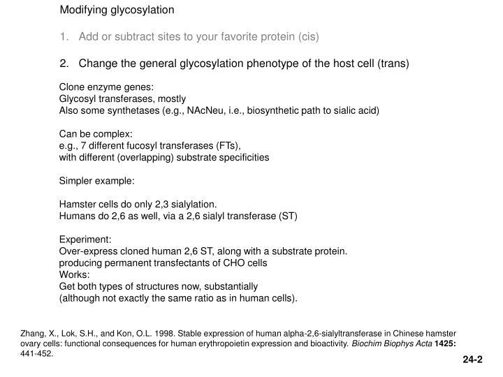 Modifying glycosylation