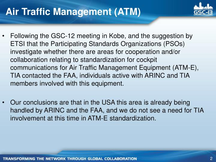 Air traffic management atm