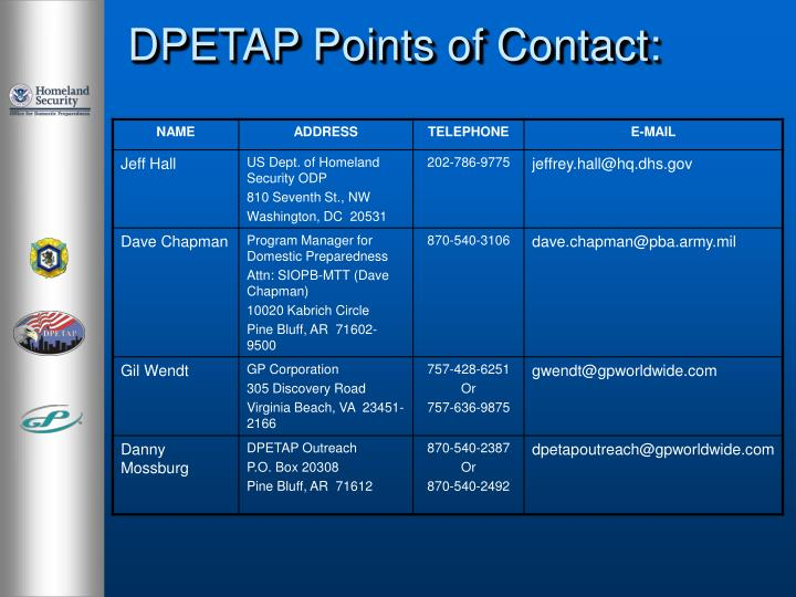 DPETAP Points of Contact: