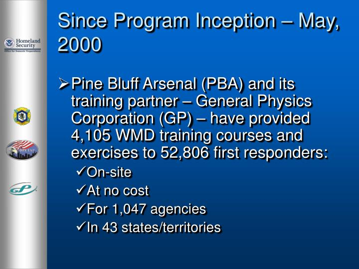 Since Program Inception – May, 2000