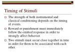 timing of stimuli