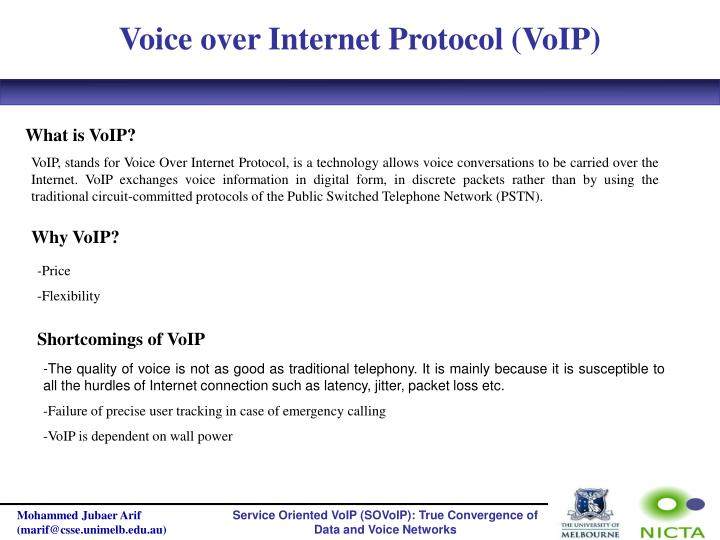 Voice over Internet Protocol (VoIP)