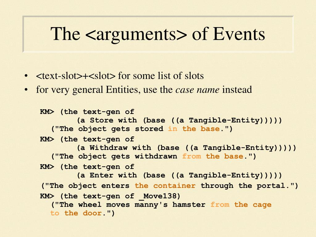 The <arguments> of Events