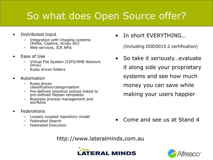 So what does Open Source offer?