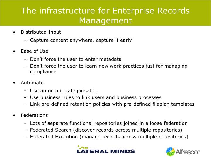 The infrastructure for Enterprise Records Management