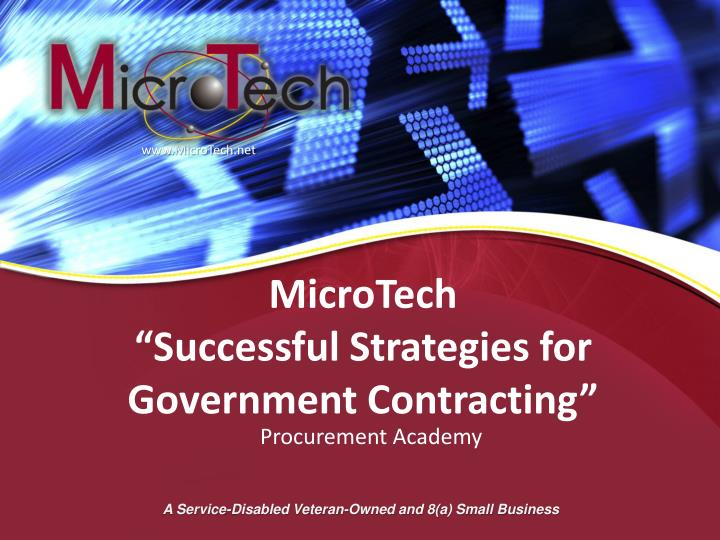 microtech successful strategies for government contracting n.
