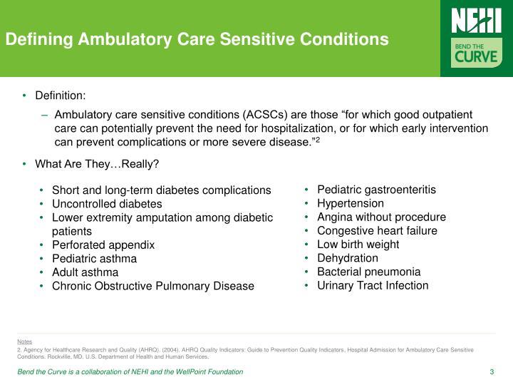 Defining ambulatory care sensitive conditions
