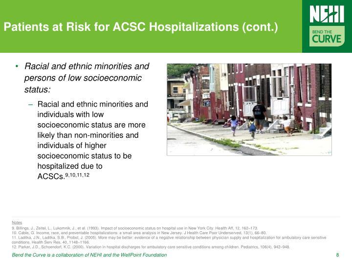 Patients at Risk for ACSC Hospitalizations (cont.)