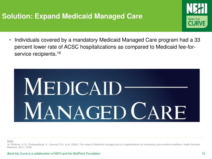 Solution: Expand Medicaid Managed Care