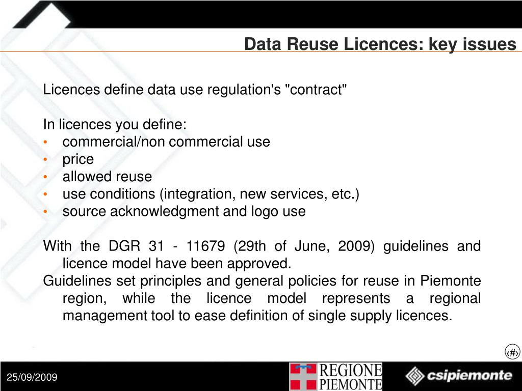 Data Reuse Licences: key issues