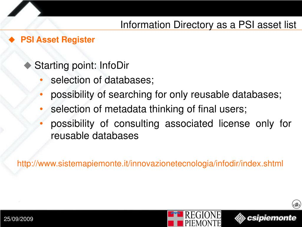 Information Directory as a PSI asset list