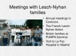 meetings with lesch nyhan families