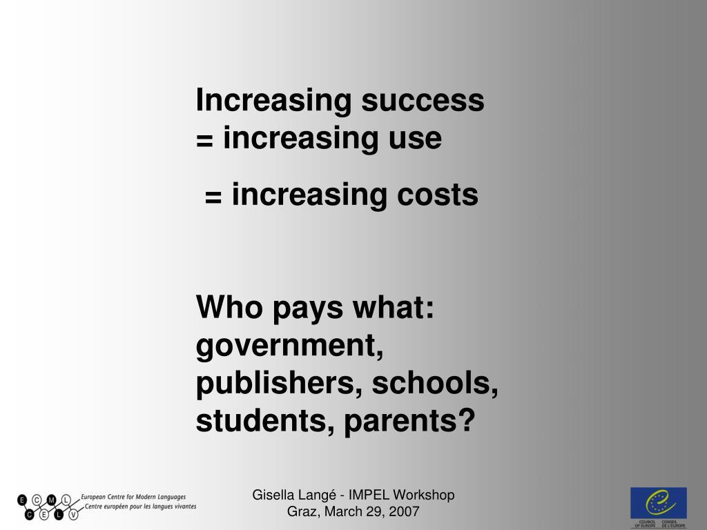 Increasing success = increasing use