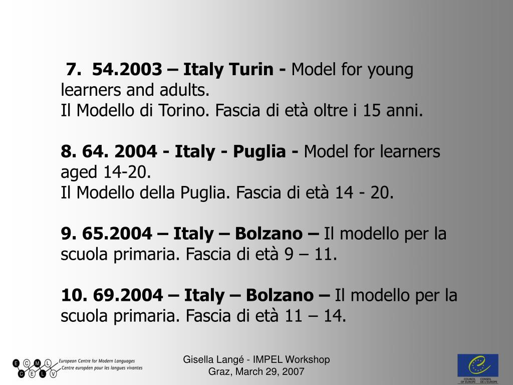 7.  54.2003 – Italy Turin -
