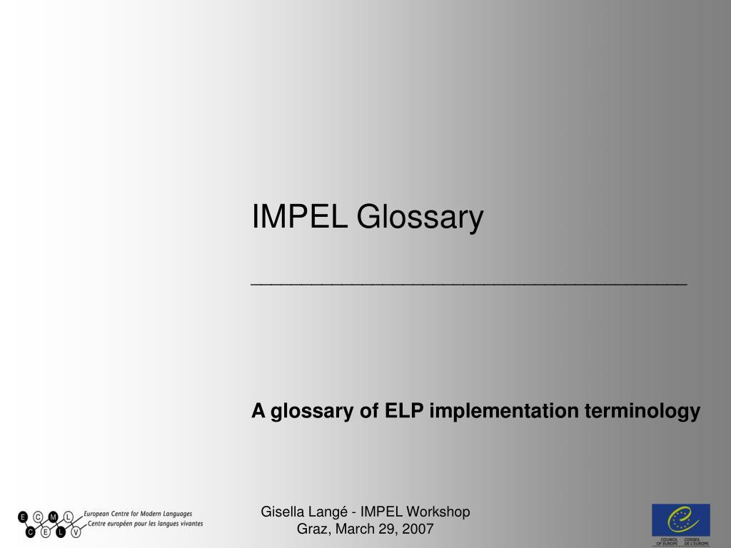 IMPEL Glossary