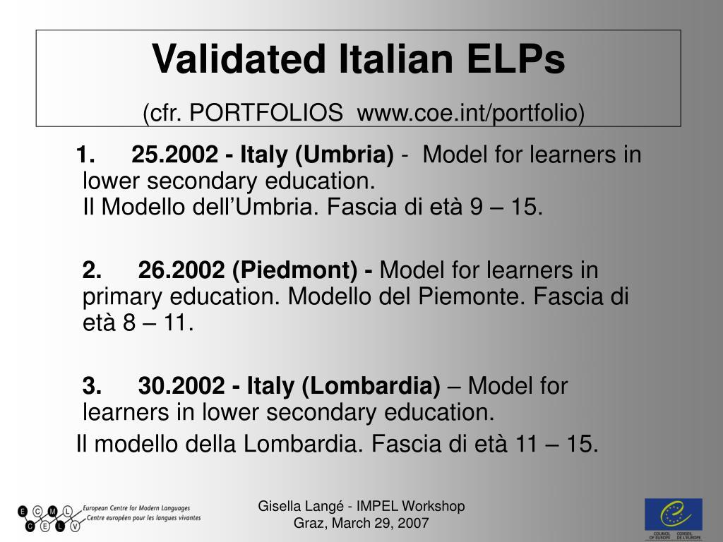 Validated Italian ELPs