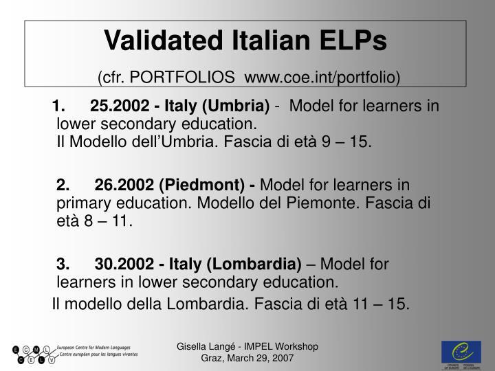 Validated italian elps cfr portfolios www coe int portfolio