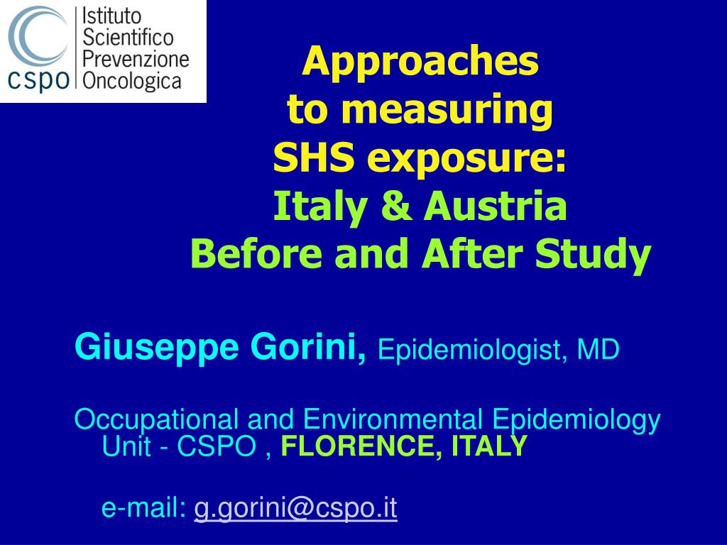 approaches to measuring shs exposure italy austria before and after study