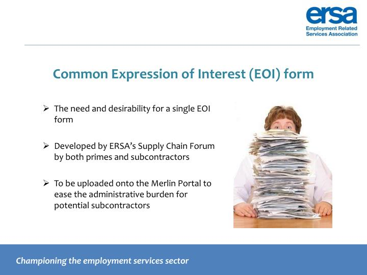Common Expression of Interest (EOI) form
