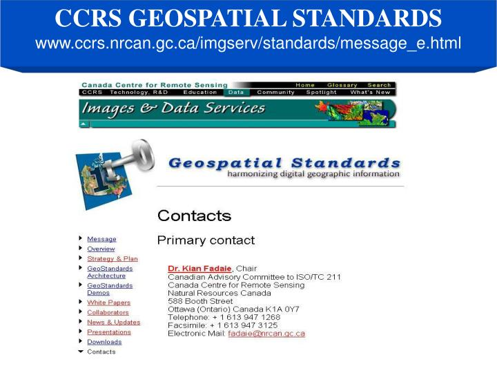 CCRS GEOSPATIAL STANDARDS