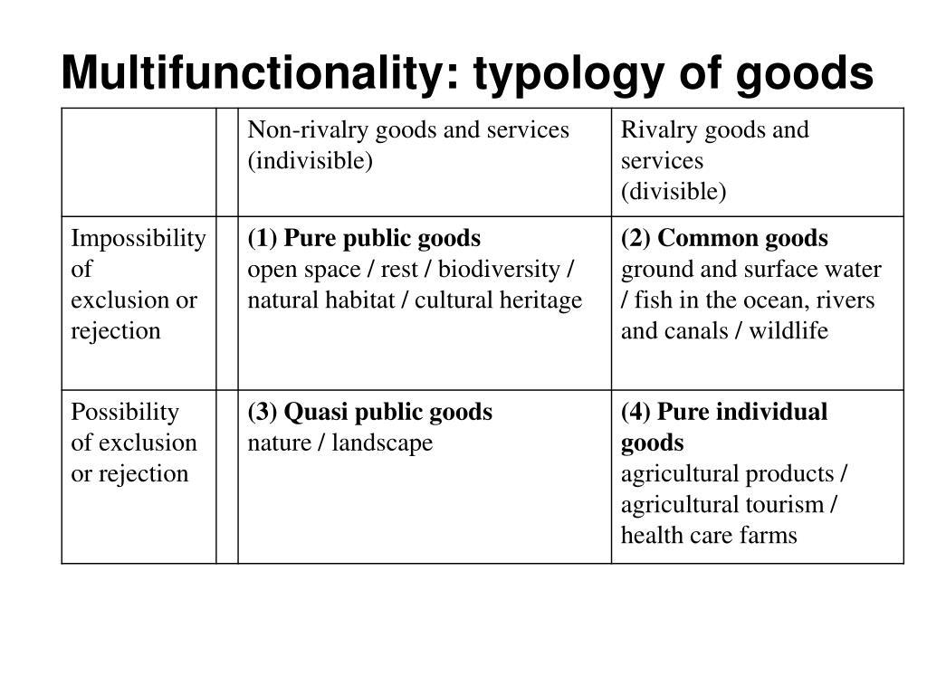 Multifunctionality: typology of goods