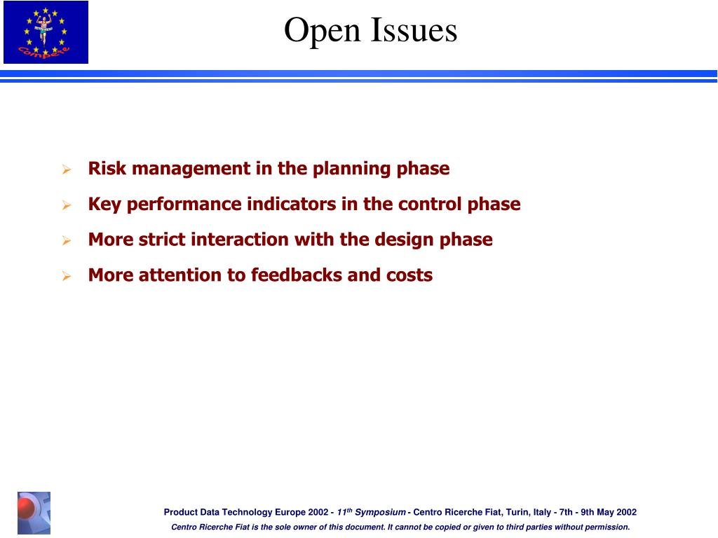 Risk management in the planning phase